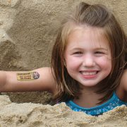 Water applied 2-line child safety tattoo